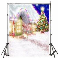 1.5x2.1m Fotografie Achtergrond Vinyl Stof Kerstboom LED Verlichting