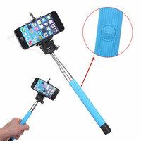 Blauwe Verlengbaar Draagbaar Monopod Selfie Stick Met 3.5mm Kabel