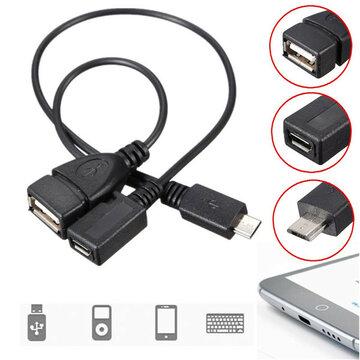 Micro USB Mannelijk Naar USB Vrouwelijk Host OTG Kabel+ Micro USB Vrouwelijk Kabel Y Splitter