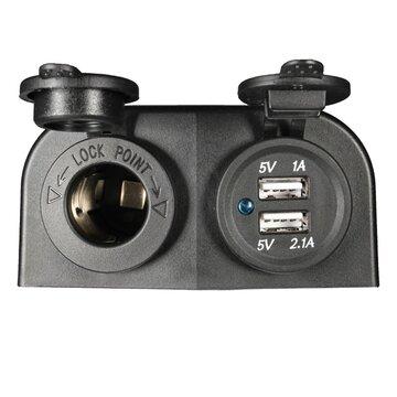 12/24V Sigaret Stopcontact + USB Oplader met 2 Schroeven