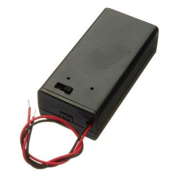 9V Batterij Box Pack houder met ON / OFF Tuimelschakelaar Zwart