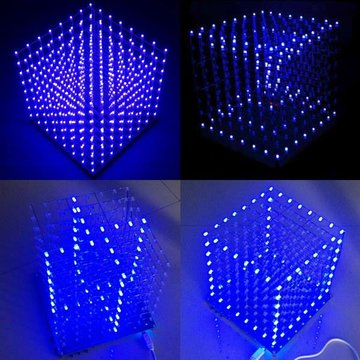 Geekcreit® 8x8x8 LED Cube 3D Licht Vierkante Blauwe LED Electronisch DIY Kit