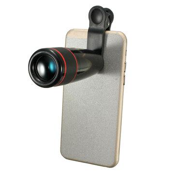 Zwart 12X Zoom Clip-on Telefoon Telescoop FotoCameralens Voor iPhone Samsung HTC Smartphone