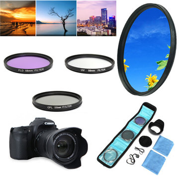 58mm UV FLD CPL Circulaire Polariserende Filter Kit Set Met Zonnekap Voor Canon Camera