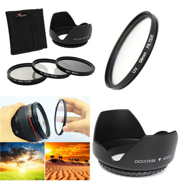 58mm UV CPL ND4 Circulaire Polariserende Filter Kit Set Met Zonnekap Voor Canon Camera
