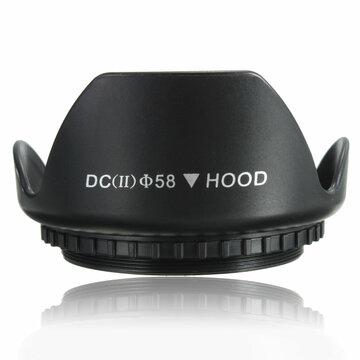 58mm Bloemblad Bloem Zonnekap Voor Canon 700D 100D 650D 600D 550D 1200D 1100D Zwart