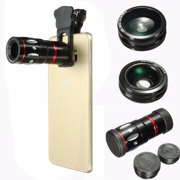 4in1 10X 180 Graden Selfie Foto Fisheye Macro Lens Klem Clip Breed Angle Voor iPhone Samsung