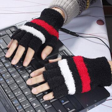 Zwart USB Verwarmde Warm Wollen Vingerloze Handschoenen