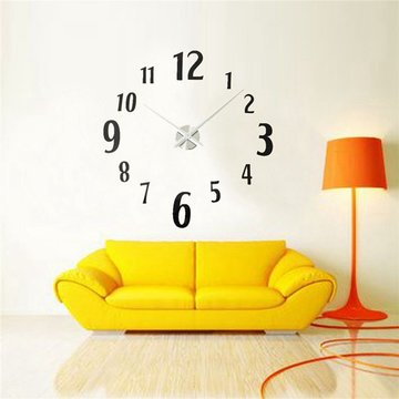 Zwart DIY Spiegel Oppervlak Groot Digitale Nummer Wandklok Modern Huis Kantoor Sticker
