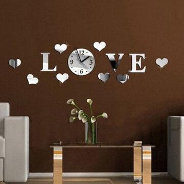DIY 3D Huis Modern Love Wandklok Decor Spiegel Woonkamer