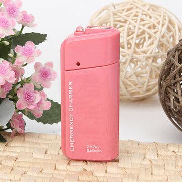 Roze AA Batterij Nood USB Lader Power voor Iphone 5 Samsung HTC