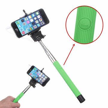 Groene Verlengbaar Draagbaar Monopod Selfie Stick Met 3.5mm Kabel