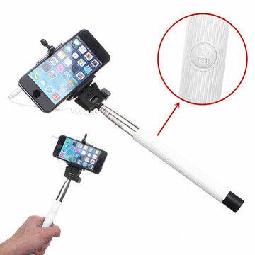 Witte Verlengbaar Draagbaar Monopod Selfie Stick Met 3.5mm Kabel