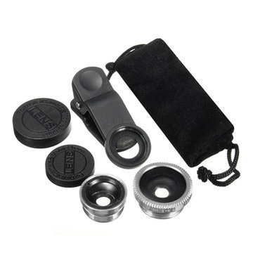 Zilver Universeel 3in1 Clip On Cameralens Kit Groothoek Fish Eye Macro Voor Smart Phone