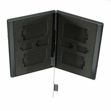 Zilver 4SD+4TF Aluminium SD MMC TF Geheugenkaart Opslag Box