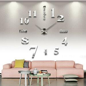 DIY Zilver Groot 3D Wandklok Huis Decoratie Spiegel Gezicht EVA Sticker