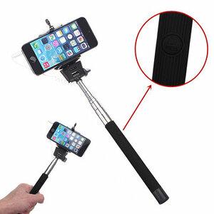 Zwarte Verlengbaar Draagbaar Monopod Selfie Stick Met 3.5mm Kabel