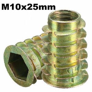 M10*25mm Zeshoek Drive Schroef In Schroefdraad Insert Type D Moer voor Hout Met Flens